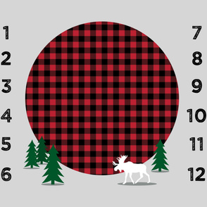 "42"" - monthly picture blanket - buffalo plaid moose - watch me grow"