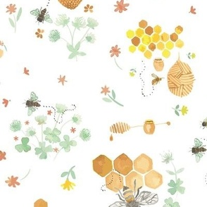 Whimsical Honey Bees on White