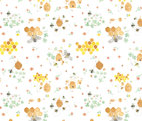 Whimsical Honey Bees on White fabric by henryfarmcreative on Spoonflower - custom fabric