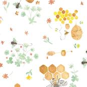 Whimsical Honey Bees on White