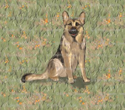 Sitting German Shepherd Dog in Orange Wildflowers for Pillow