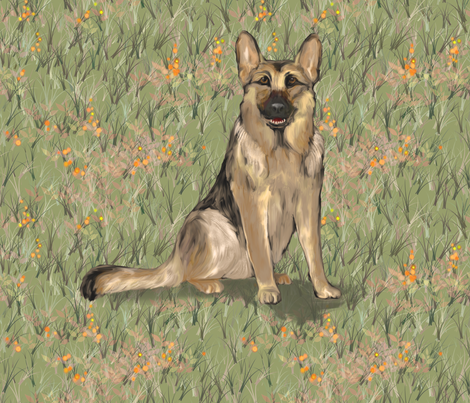 Sitting German Shepherd Dog in Orange Wildflowers for Pillow fabric by eclectic_house on Spoonflower - custom fabric
