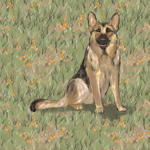 Sitting German Shepherd Dog in Orange Wildflowers for Pillow