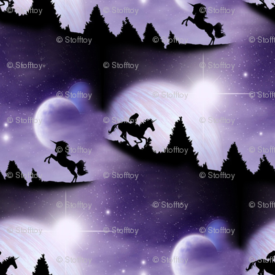 Black unicorn in a purple world fabric stofftoy for Space unicorn fabric