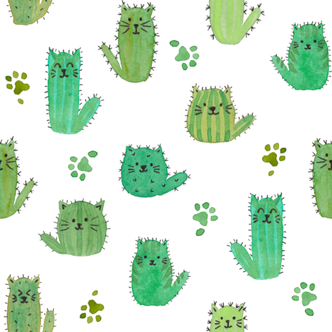 Cat-cus! Cactus cats and paws fabric by luciecookedesign on Spoonflower - custom fabric