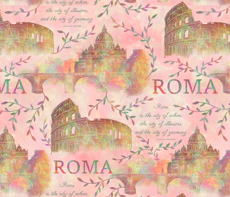 Romewatercolor-pink fabric by gaiamarfurt on Spoonflower - custom fabric