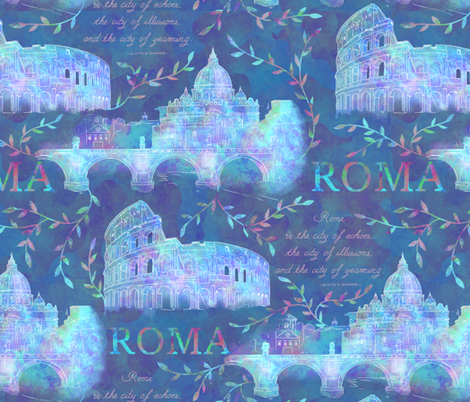 Romewatercolor-darkblue fabric by gaiamarfurt on Spoonflower - custom fabric