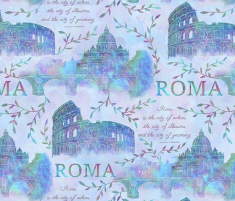 Romewatercolor-blue fabric by gaiamarfurt on Spoonflower - custom fabric