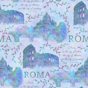 Romewatercolor-blue