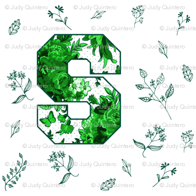 S is for Michigan State / Green & White Florals / School Spirit