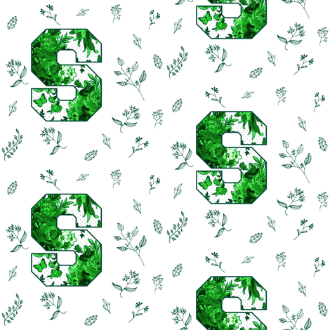S is for Michigan State / Green & White Florals / School Spirit fabric by shopcabin on Spoonflower - custom fabric