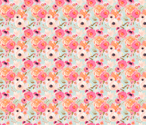 INDY BLOOM BLUSH Florals BLUE A fabric by indybloomdesign on Spoonflower - custom fabric