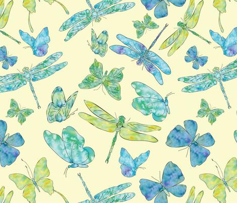 Butterflies___Dragonflies-final-01 fabric by annelafollette on Spoonflower - custom fabric