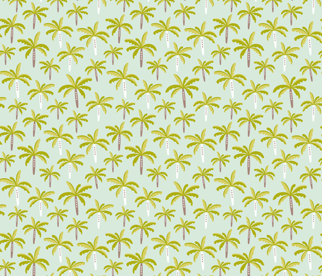 Summer palm tree beach coconut pastel bikini tropics illustration print in mint and mustard yellow fabric by littlesmilemakers on Spoonflower - custom fabric