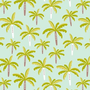 Summer palm tree beach coconut pastel bikini tropics illustration print in mint and mustard yellow