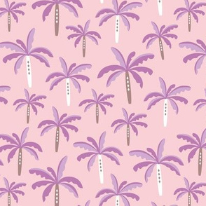 Summer palm tree beach coconut pastel bikini tropics illustration print in pink and lilac