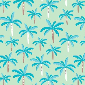 Summer palm tree beach coconut pastel bikini tropics illustration print in mint and blue