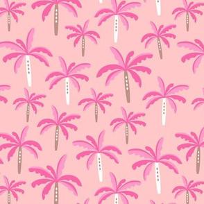 Summer palm tree beach coconut pastel bikini tropics illustration print in pink