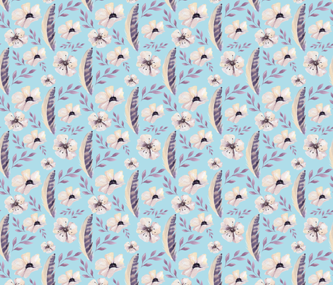 Feathers and Flowers on Light Blue fabric by sara_gerrard on Spoonflower - custom fabric