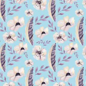 Feathers and Flowers on Light Blue