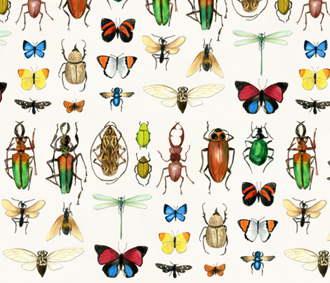 The Usual Suspects - insects on white fabric by cecca on Spoonflower - custom fabric