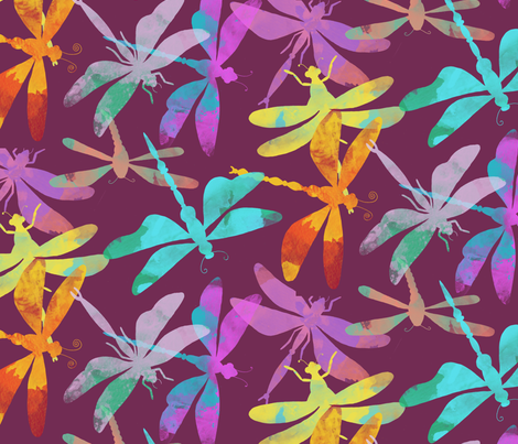 Dragonflies (plum) fabric by seesawboomerang on Spoonflower - custom fabric