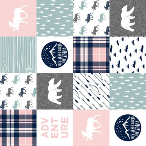 Happy Camper wholecloth w/fall plaid || (dusty blue and rose) (90)