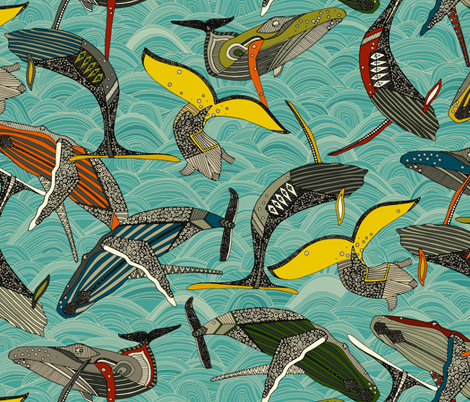 whales and waves bright fabric by scrummy on Spoonflower - custom fabric