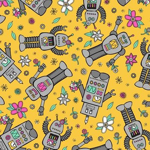 Robots in Spring (Yellow)