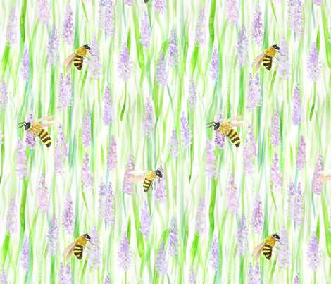 Honey Bees and Lavender fabric by hazelnut_green on Spoonflower - custom fabric