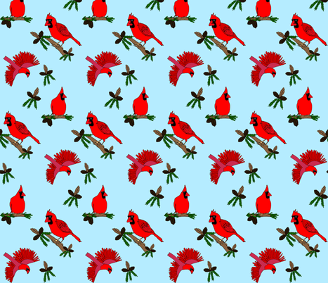 Cardinals fabric by pennydog on Spoonflower - custom fabric