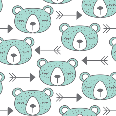 large arrows and teal bearfaces fabric by lilcubby on Spoonflower - custom fabric