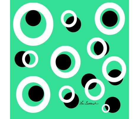 GreenWhiteBlackCircles fabric by loiseastlund on Spoonflower - custom fabric