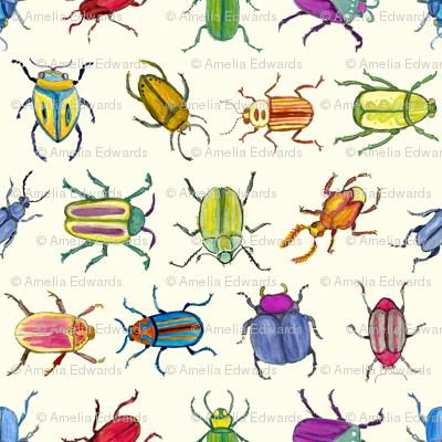Bright Watercolor Beetles