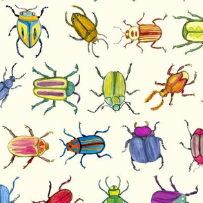 Bright Watercolor Beetles