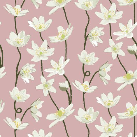 Anemone - pink fabric by crumpetsandcrabsticks on Spoonflower - custom fabric