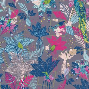 Tropical Birds with Ferns