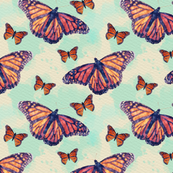 Monarch Butterflies with Blue Watercolor