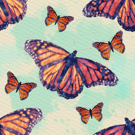 Monarch Butterflies with Blue Watercolor fabric by linda_baysinger_peck on Spoonflower - custom fabric