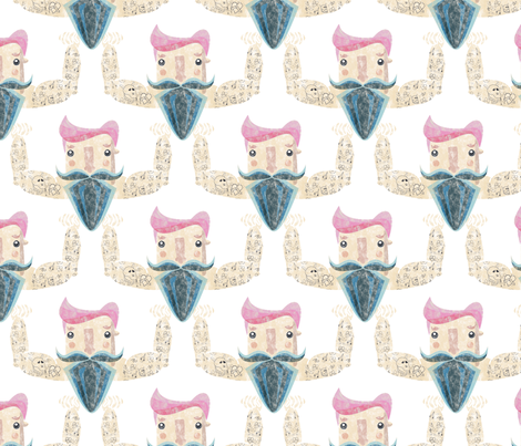 Hipster tattooed guy with pink hair and blue beard fabric by outshop on Spoonflower - custom fabric