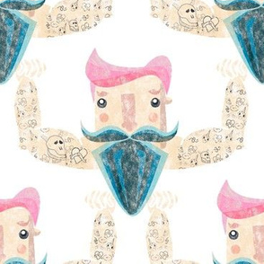 Hipster tattooed guy with pink hair and blue beard