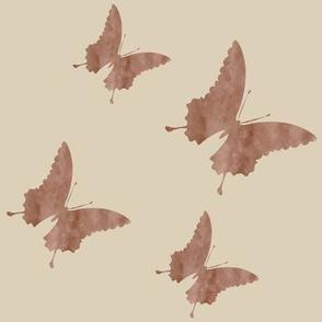 Large butterflies, brownish grey taupe on light brown beige || shirt top blouse night gown woman dress fun trendy man men girl kid women womanly timeless safari