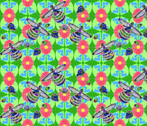 Insects_on_watercolour_floral fabric by b2b on Spoonflower - custom fabric