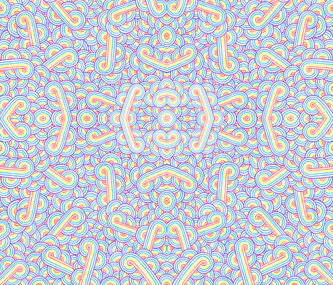 Rainbow and white swirls doodles fabric by savousépate on Spoonflower - custom fabric