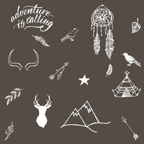 """8"""" Adventure is Calling Outdoors / Boho / Brown & White"""