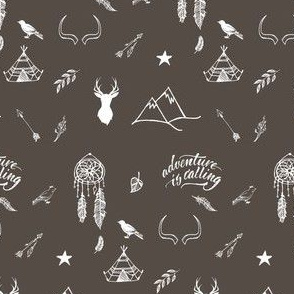 """4"""" Adventure is Calling Outdoors / Boho / Brown & White"""