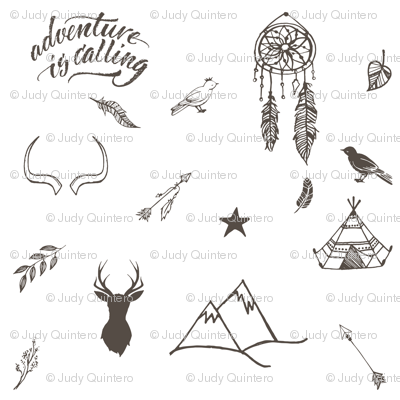 """8"""" Adventure is Calling Outdoors / Boho / White & Brown"""