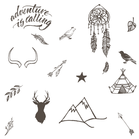 """8"""" Adventure is Calling Outdoors / Boho / White & Brown fabric by shopcabin on Spoonflower - custom fabric"""
