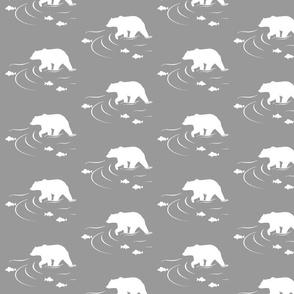 Wading bear on grey