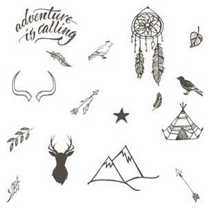 """6"""" Adventure is Calling Outdoors / Boho / White & Brown"""